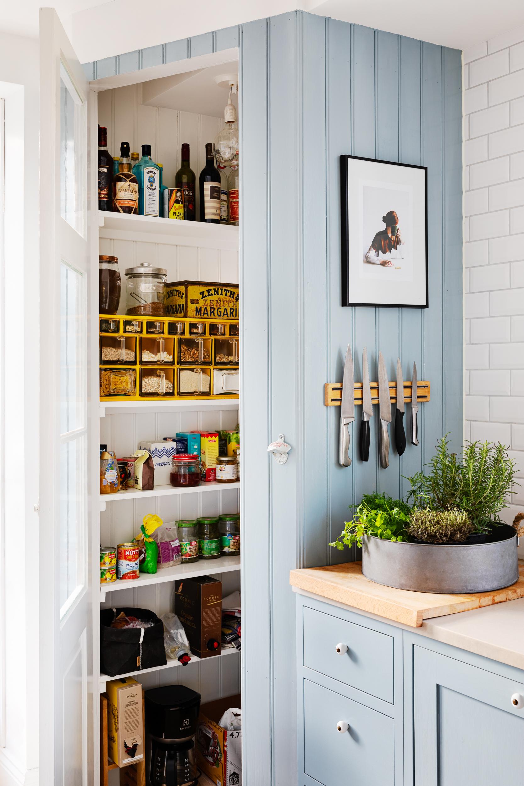 Light blue Scandinavian Shaker Kitchen pantry