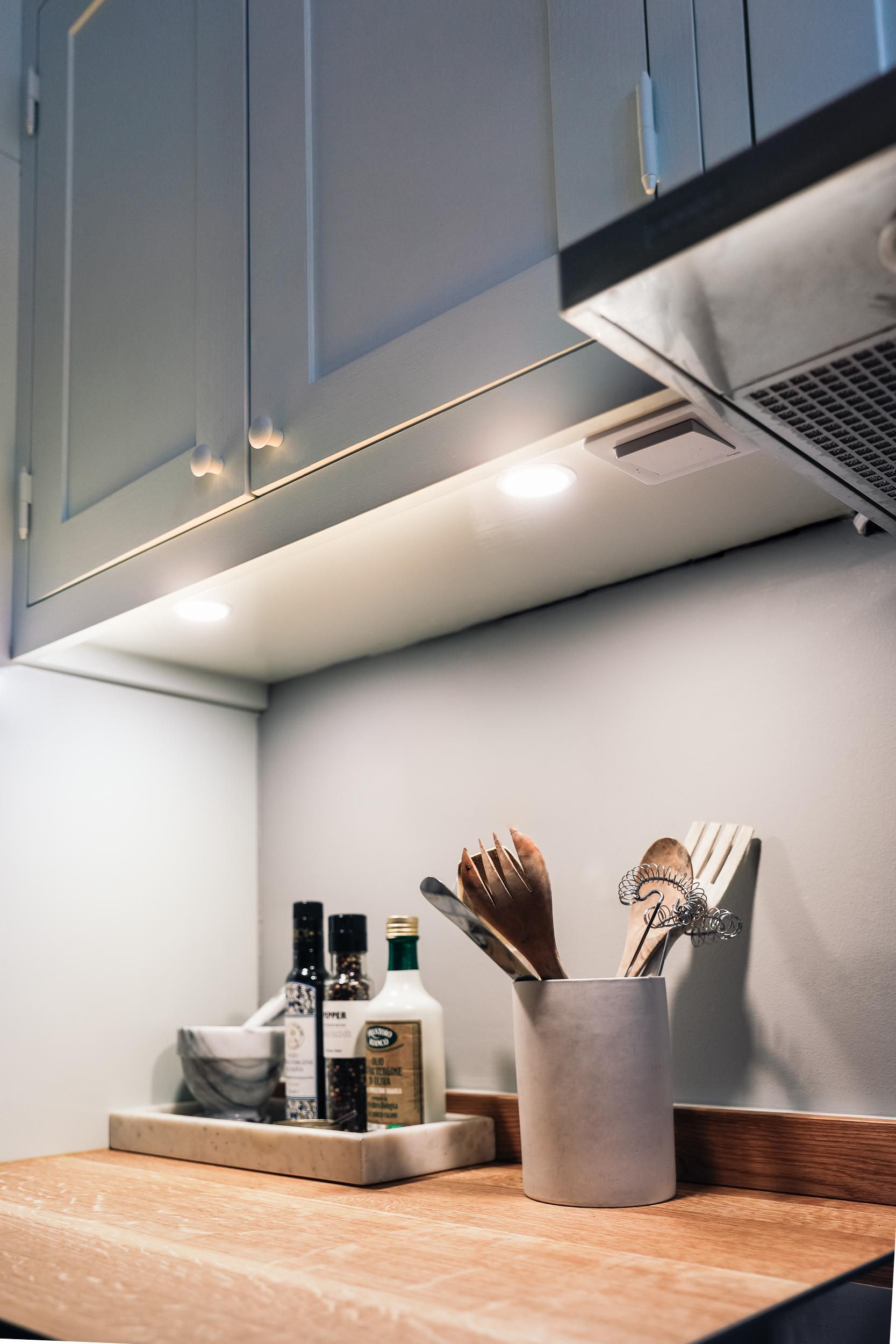 Spotlights under cabinet from Scandinavian Shaker Kitchen